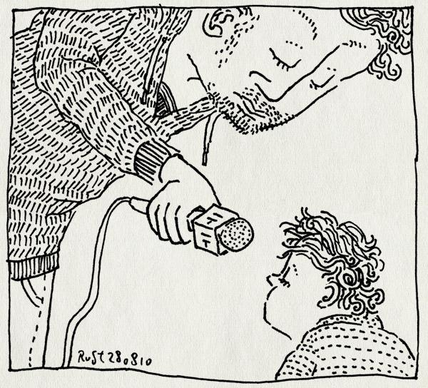 tekening 1199, alwine, het woord geven, interview, microfoon, microphone, papa, praten, woorden