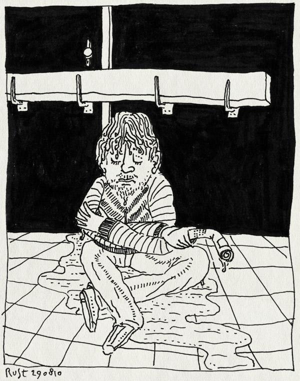 tekening 1200, amsterdam, closed, deur, dicht, op sterk water, plas, rain, regen, sugarfactory, te laat, too late, uitmarkt, uitmarktboekje, wachten