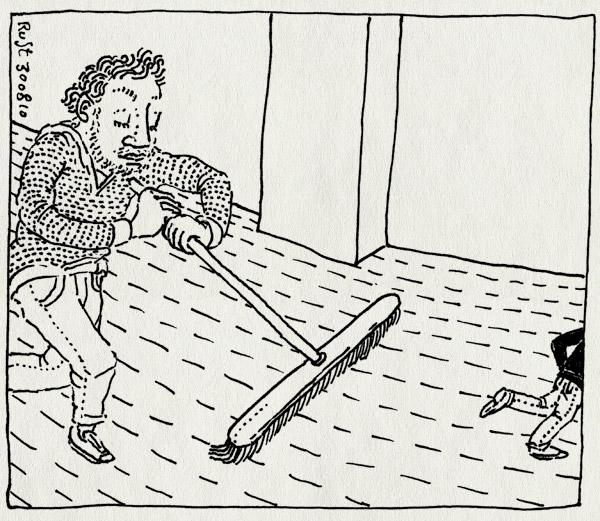 tekening 1201, achternazitten, bezem, broom, chase, clean, midas, opruimen, rommel, zooi