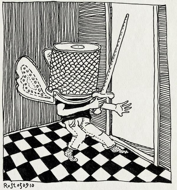 tekening 1207, bucket, emmer, midas, sluipen, sword, verkleden, verkleedpartijtje, vleugels, vlinder, zwaard