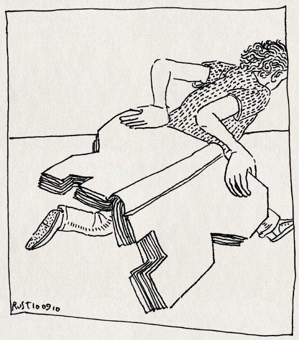 tekening 1212, boek, book, burorust, cut, mooi is dat!, rennen, run, snijden, werk, work, zagen