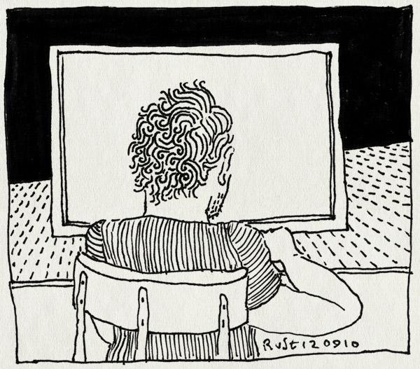 tekening 1214, computer, mac, niks, staren, werk