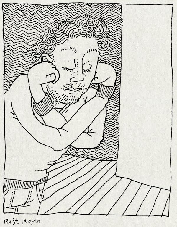 tekening 1216, armen, bellevue, elkaar, over, rusten, vuisten