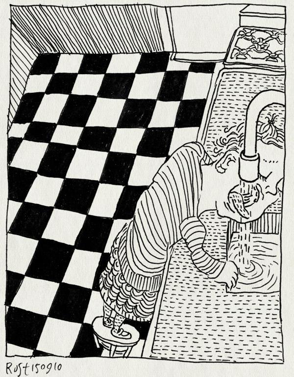 tekening 1217, alwine, drink, drinken, kraan, krukje, sink, stool, tegels, tiles, vloer