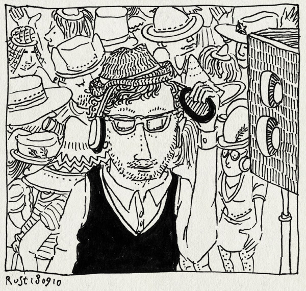 tekening 1220, box, chapeau, dilemma, feest, hat, hats, hoed, hoeden, joost, nh49, party, silent disco, speaker, stille disco
