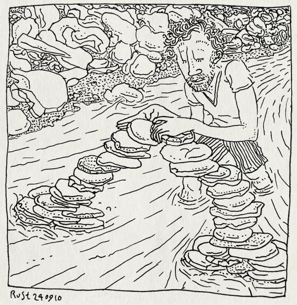 tekening 1226, 2010, brigde, brug, jeeeeeej, keien, orgiva, plasy, river, rivier, spain, spanje, spelen, stapelen, stenen, stones, stromen, stroomversnelling, vakantie