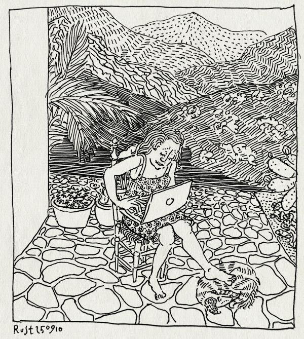 tekening 1227, 10e, 10inc, 2010, la cericera, mac, macbook, martine, spain, spanje, uitzicht, vakantie, view