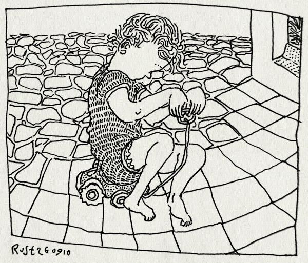 tekening 1228, 2010, alwine, la cenicera, rijden, spain, spanje, speelgoed, terras, tractor, vakantie, zelfbesturing, zitten