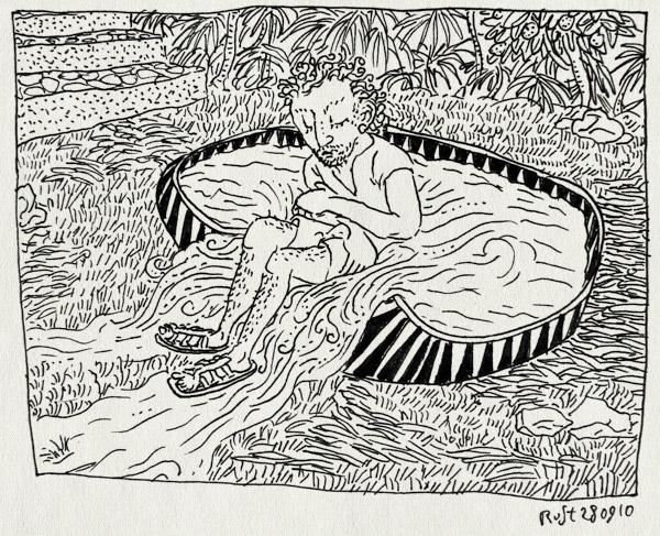 tekening 1230, 2010, alpujarra, badje, kinderbadje, la cenicera, leegloop, leeglopen, spain, spanje, vakantie, verkoeling, zitten, zwembad