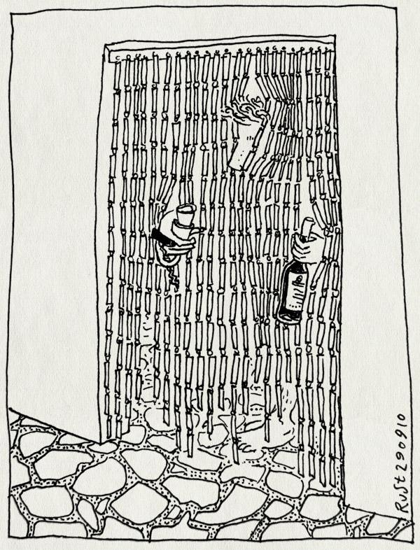 tekening 1231, 2010, alpujarra, glazen, gordijn, kralen, kurkentrekker, la cenicera, spain, spanje, typisch, vakantie, vliegengordijn, wijn