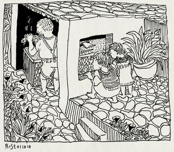 tekening 1233, 2010, alpujarra, alwine, berend, kip, la cenicera, midas, slachten, spain, spanje, vakantie