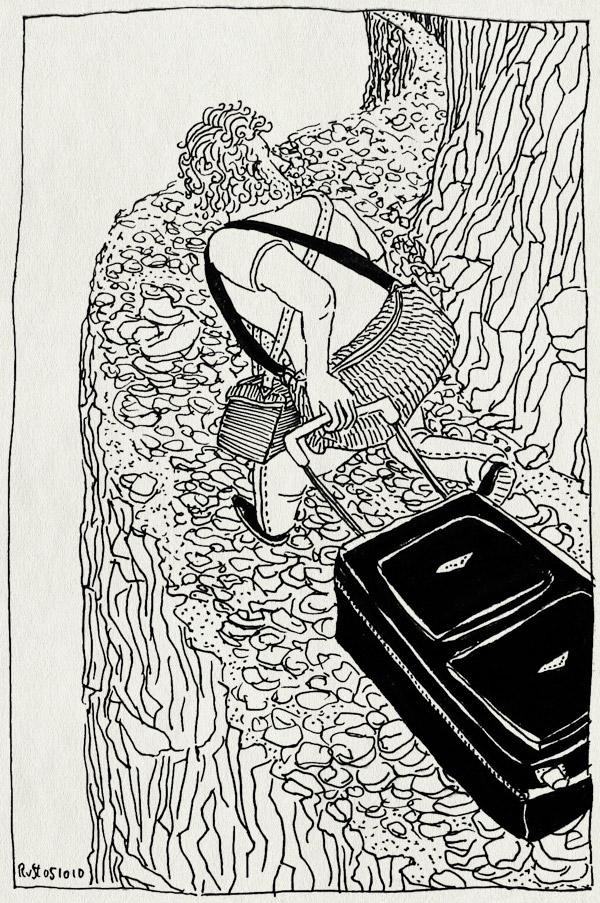 tekening 1237, 2010, afgrond, afscheid, alpujarra, baggage, bergen, clif, hobbelpad, klif, koffer, la cenicera, luggage, mountains, offroad, spain, spanje, suitcase, terugreis, vakantie, weg