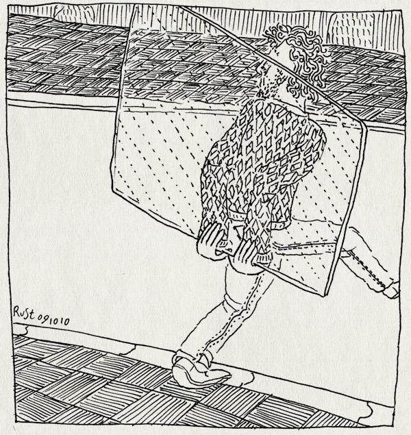 tekening 1241, cliche, douchedeur, glas, glass, klassieker, slapstick, straat, street