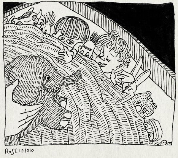 tekening 1242, alwine, bed, bert, dekbed, dora, knuffels, olifant, poppen, slapen, veel, woodstock