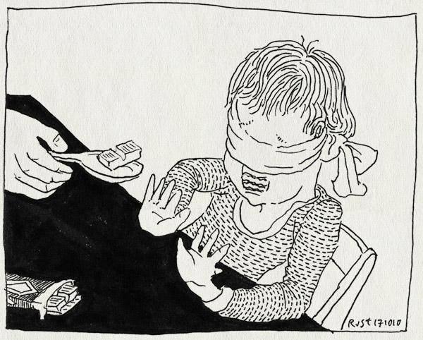 tekening 1249, blinddoek, blindfold, chocola, chocolade, eten, lastig, lekker, midas, proeven, taste, vies