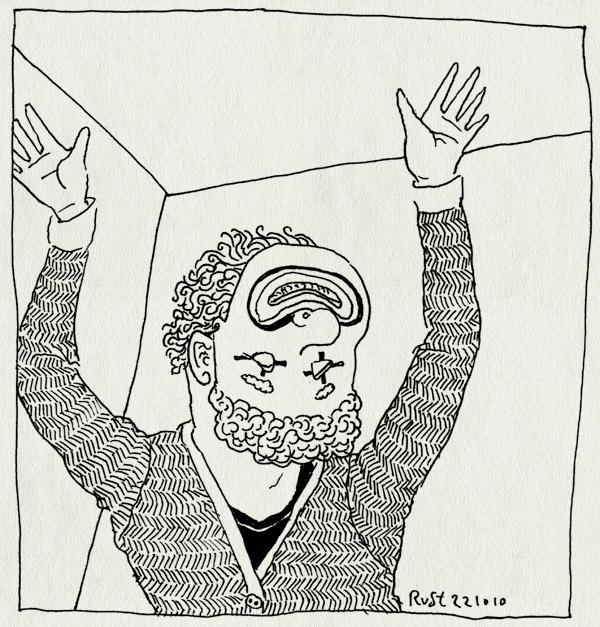 tekening 1254, arjen, clown, feest, mask, masker, ondersteboven, upside down
