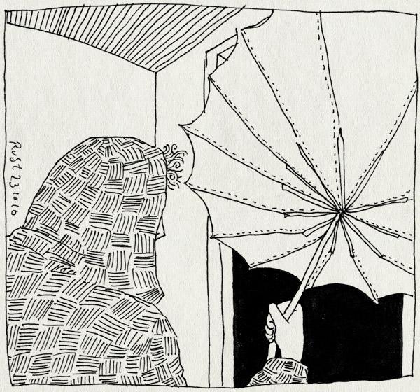 tekening 1255, capuchon, deur, door, fit, paraplu, passen, rain, regen, umbrella