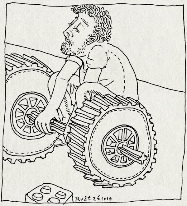 tekening 1258, gewichtheffen, lego, technisch, wielen
