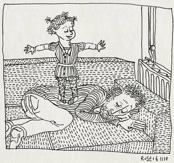 tekening 1279, alwine, bank, dochter, lol, moe, papa, slaap, sleep, staan, staartjes, stoeien, tired