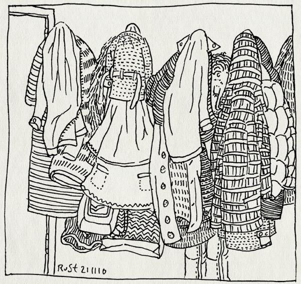 tekening 1284, berg, jassen, kapstok, maasstraat, patronen, verstoppen, vol