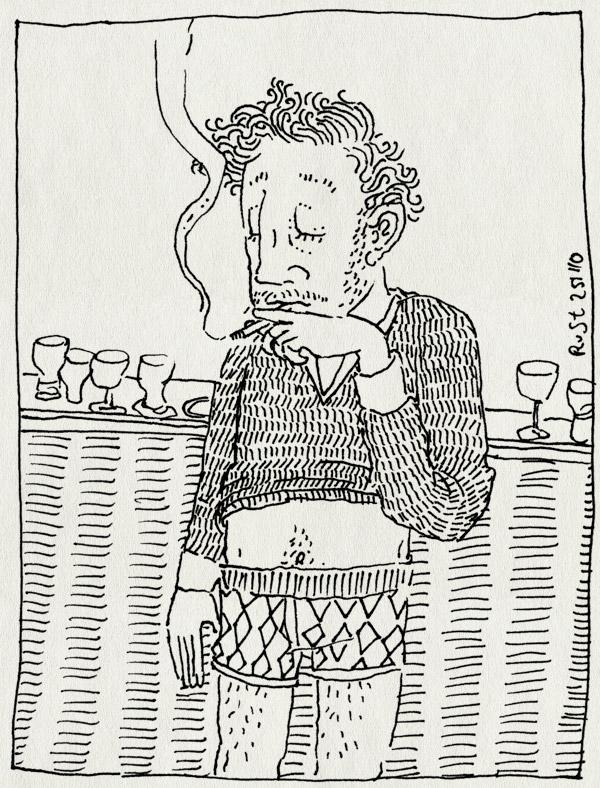 tekening 1288, dom, onderbroek, recensiekoning, roken, sigaret, slim