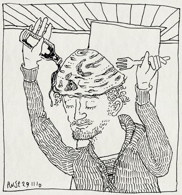 tekening 1291, hoofd, jan jans en de kinderen, jan kruis, pannenkoek, recensiekoning, sint pannekoek, stroop