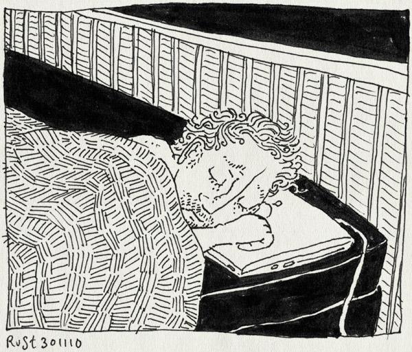 tekening 1292, loopjesdenken, onrustig, repeditive brain syndrome, slaap, slecht, wakker, werk
