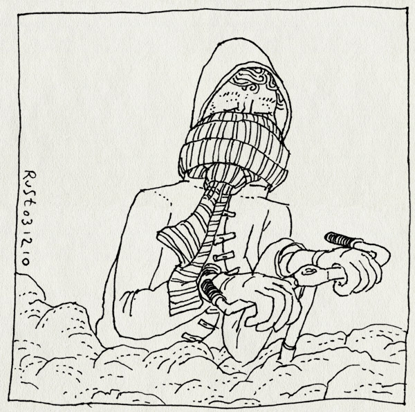tekening 1295, bicycle, cold, fiets, jacket, jas, koud, sjaal, sneeuw, snow