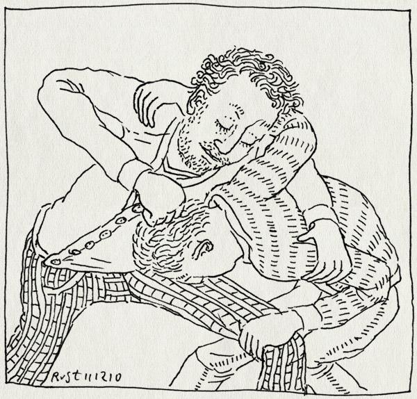 tekening 1303, broer, broers, cadeau, michel, stoeien, verjaardag