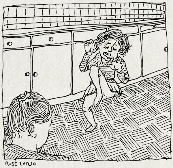 tekening 1312, 2, alwine, grappig, keuken, kielekiele, kietlen, klein, lief, martine, twee