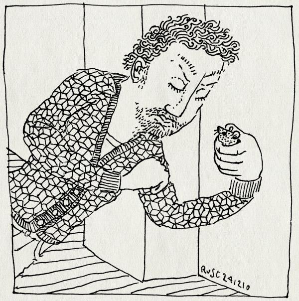 tekening 1316, boos, catch, gevangen, kijken ongedierte, mouse, muis, self fulfilling prophecy, vangen