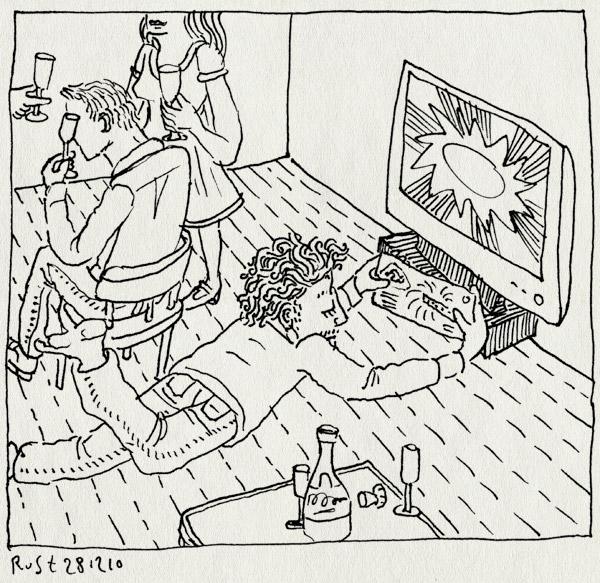 tekening 1320, champagne, loterij, oud en nieuw, oudejaarslot, oudejaarsloterij, recensiekoning, show, staatslot, televisie
