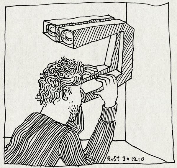 tekening 1322, 2010, achteruit, gesloten ogen, periscoop, remeniscence, terugblik