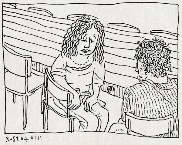 tekening 1330, burorust, gesprek, merel, nh49
