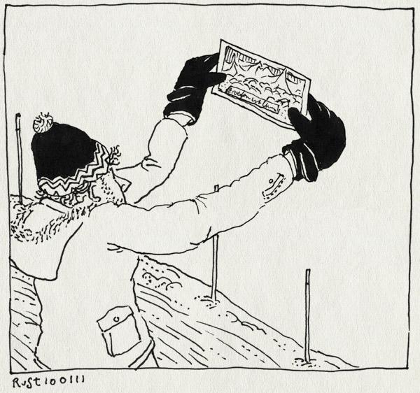 tekening 1333, ansichtkaart, les arcs, paradiski, ski, vallandry, view, wintersport2011
