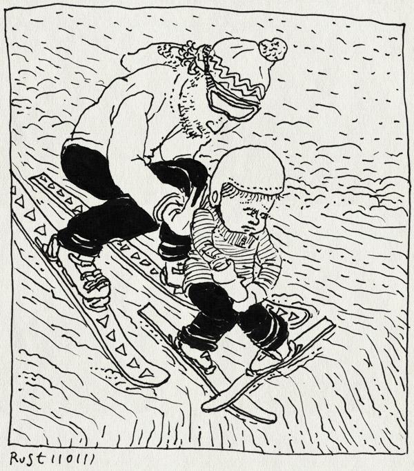 tekening 1334, afgrond, duwen, helm, ik wil, leren, les arcs, midas, paradiski, ski, skiklas, vallandry, verzet, wintersport2011