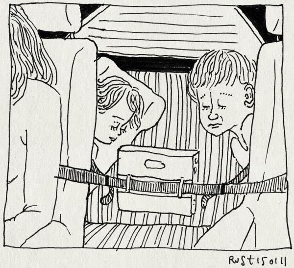 tekening 1338, alwine, auto, dvd, gehaktballen, kijken, les arcs, midas, paradiski, return, saab, ski, slapen, terugreis, vallandry, wintersport2011