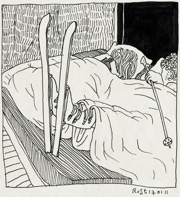 tekening 1340, bed, dromen, napret, ski, thuis, vakantie