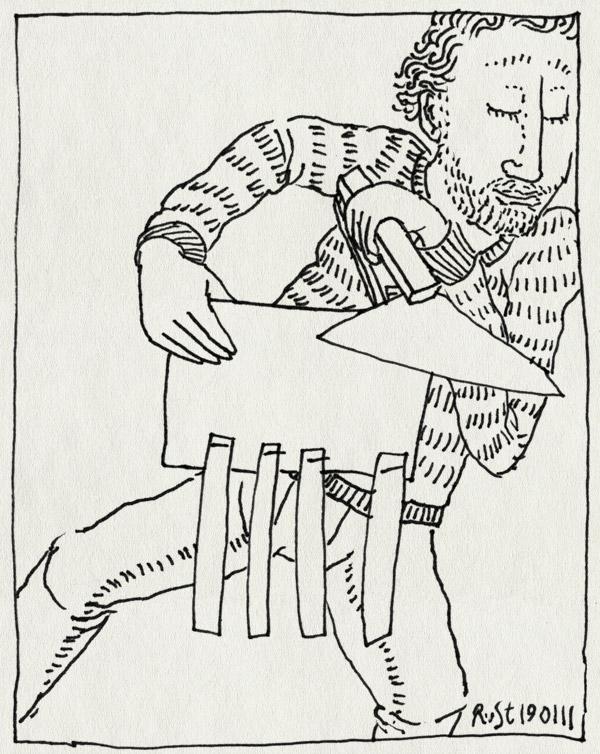 tekening 1342, karakter. hondje, knutselen