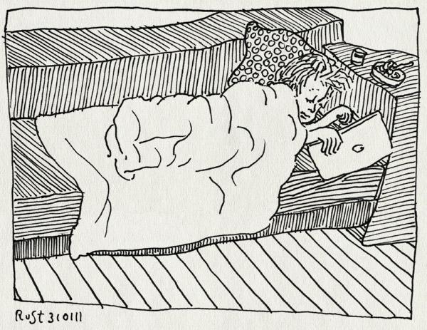 tekening 1354, bank, dag1, ipad, midas, ziek