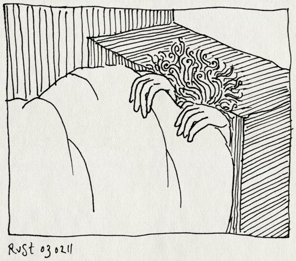tekening 1357, bank, dag4, dekentje, ruben, zelf, ziek