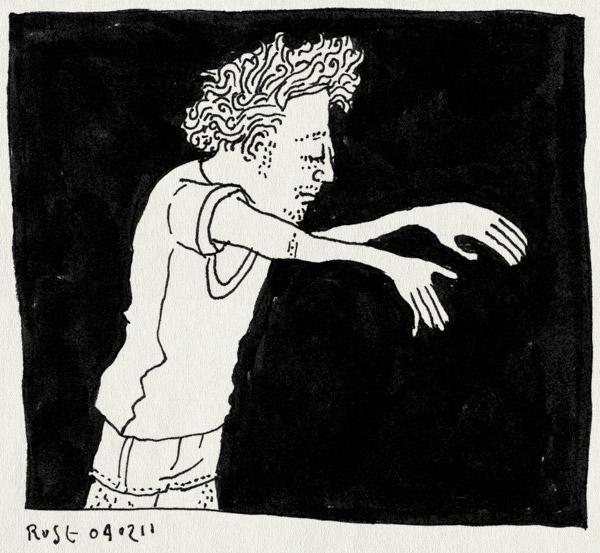 tekening 1358, griep, lopen, slaapwandelen, sloom, spierpijn, ziek