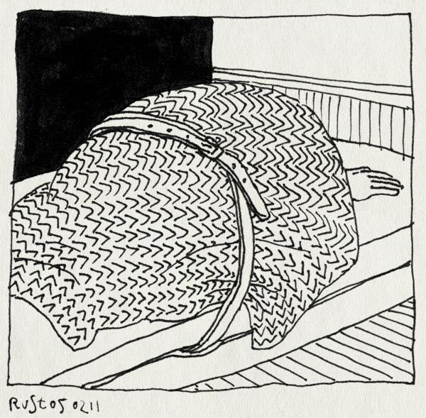 tekening 1359, bed, griep, riem, vastgebonden, ziek
