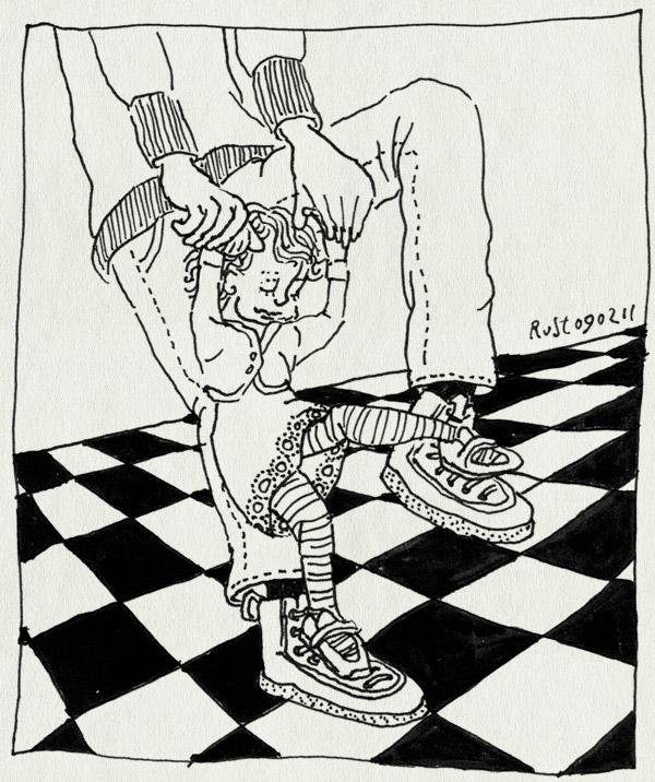 tekening 1363, alwine, dansen, lopen, schoenen,opelkaar, voeten
