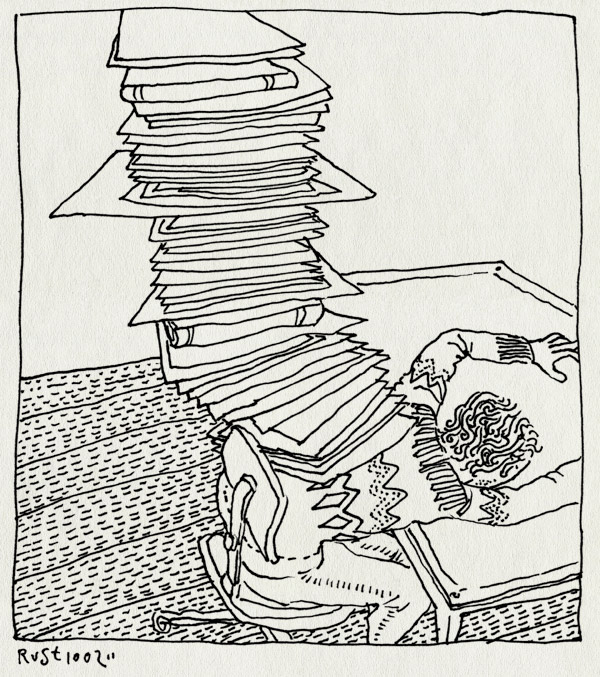 tekening 1364, berg, burorust, druk, pile, stapel, veel, werk, work, ziek