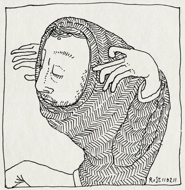tekening 1365, i am cornholio, midas. trui, over hoofd