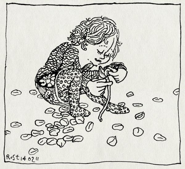tekening 1368, alwine, blaadjes, petal, roos, rose, valentijsdag, ze houdt niet van me, ze houdt wel van me