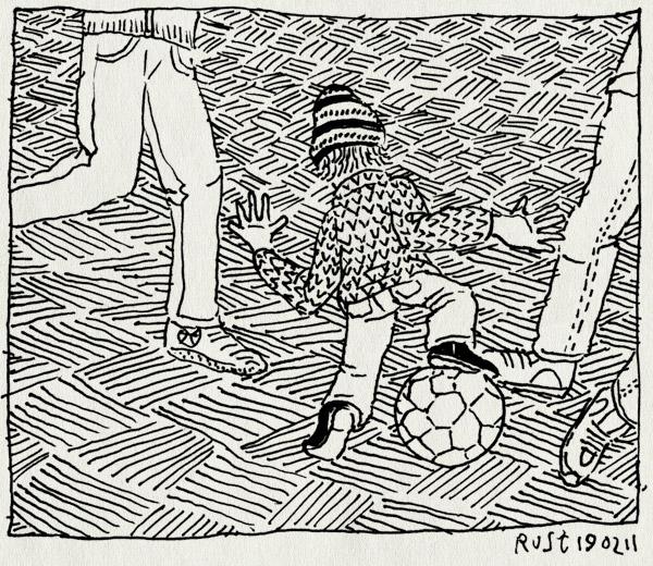 tekening 1373, grote jongens, midas, straatvoetbal, voetballen