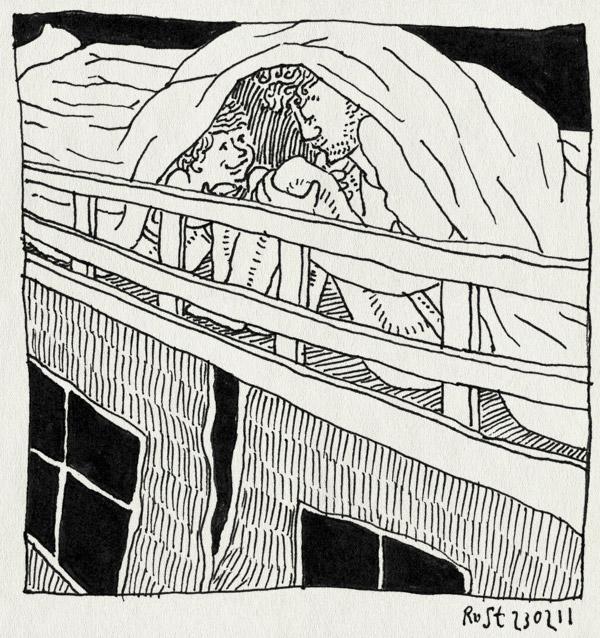 tekening 1377, bed, deken, gniffelen, halfhoogslaper, midas, spannend, verstoppen, verstoppertje