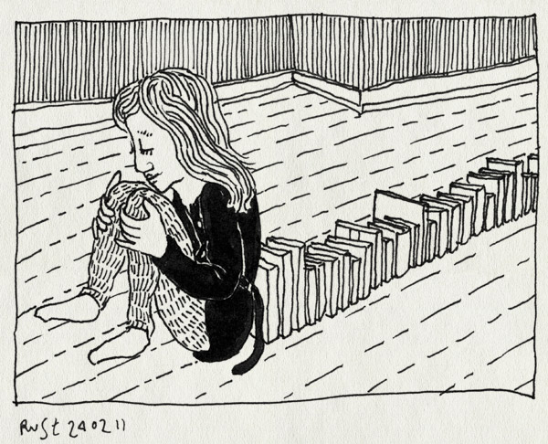 tekening 1378, 10e, boeken, boekenkast, boekensteun, martine, steunbeer, verbouwing